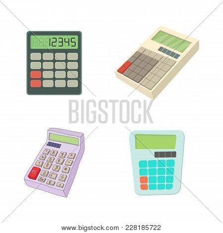 Calculator Icon Set. Cartoon Set Of Calculator Vector Icons For Web Design Isolated On White Backgro