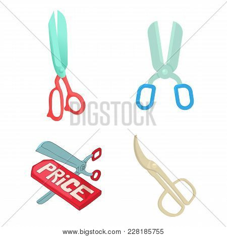 Scissors Icon Set. Cartoon Set Of Scissors Vector Icons For Web Design Isolated On White Background