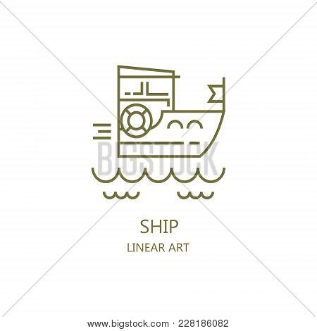 Boat. Linear Art. You Can Use As A Logo.