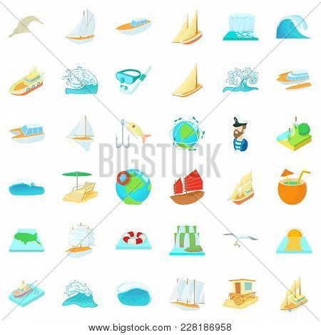Sea Water Icons Set. Cartoon Set Of 36 Sea Water Vector Icons For Web Isolated On White Background