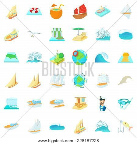 Salty Water Icons Set. Cartoon Set Of 36 Salty Water Vector Icons For Web Isolated On White Backgrou