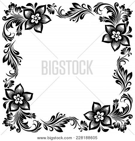 Vector Rectangular Frame For Design With A Stylized Floral Ornament, Black And White Decoration In A