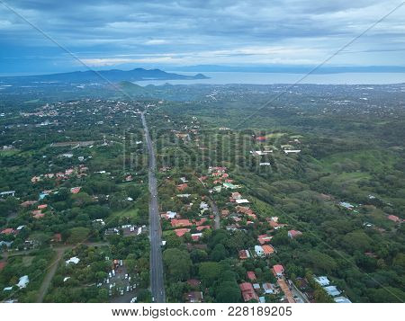 Aerial View On Managua City In Nicaragua. Landscape Of Central America City