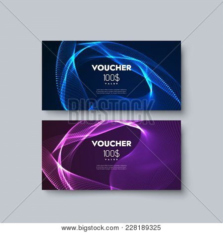 Gift Voucher Templates. Set Of Discount Certificates. Vector Illustration Of Coupons With 100 Dollar