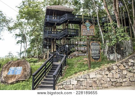 Guararema, Sp, Brazil, 12/20/2017. View Of Wooden Staircase Inside The Pedra Montada Municipal Park,