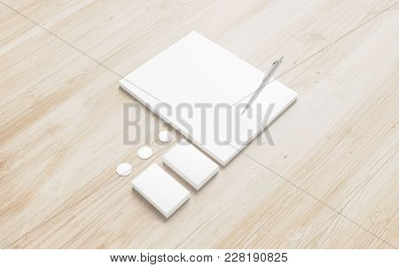 Blank Stationery On Wooden Background. 3d Render Of Letterheads And Cards To Showcase Your Presentat
