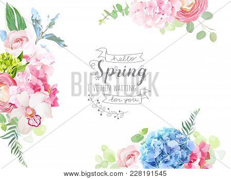 Floral Borders Arranged From Pink Rose, White Orchid, Ranunculus, Blue And Green Hydrangea, Greenery
