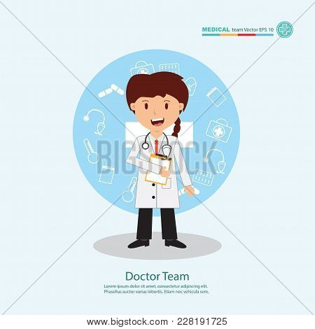 The  Professional Medical Team For Health Life Concept With Logo, Little Doctor Boy, Girl In Gown Su