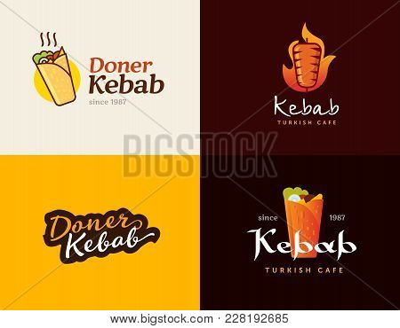 Set Of Doner Kebab Logo Templates. Vector Creative Labels For Turkish And Arabian Fast Food Restaura