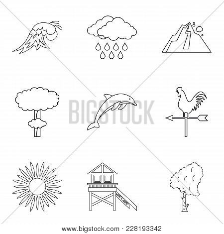 Thunderstorm Icons Set. Outline Set Of 9 Thunderstorm Vector Icons For Web Isolated On White Backgro