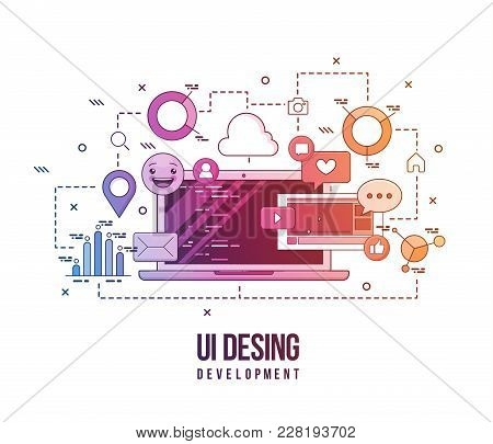 Flat Illustration For Ui-ux Design, Web Design, Mobile Apps Development. Modern Flat Colorful Line D