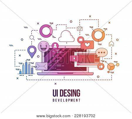 Flat Illustration For Ui-ux Design, Web Design, Mobile Apps Development. Modern Flat Colorful Line D