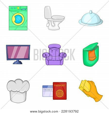 Coaching Inn Icons Set. Cartoon Set Of 9 Coaching Inn Vector Icons For Web Isolated On White Backgro