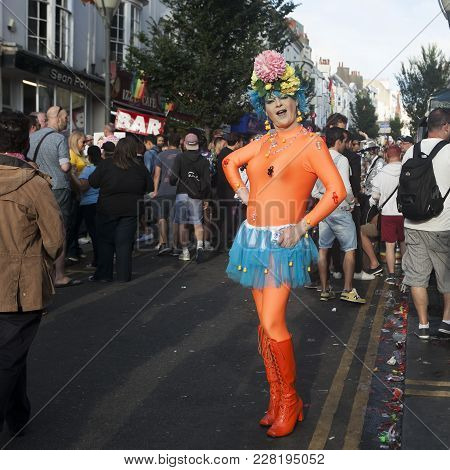 Brighton, England - August 11, 2016 People Enjoying The Brighton Gay Pride Festival. Transvestite In