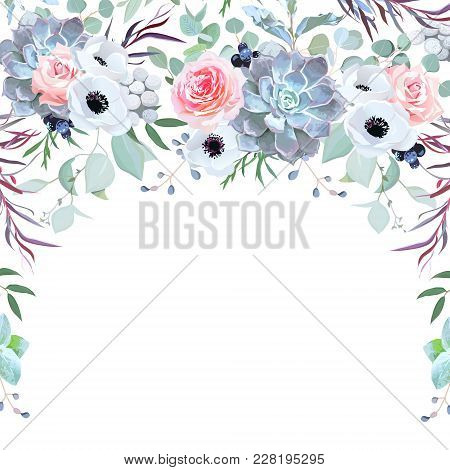 Semicircle Garland Herbal Frame Arranged From Flowers, Branches, Leaves, Succulents And Berries On W
