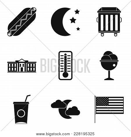 Sidewalk Food Icons Set. Simple Set Of 9 Sidewalk Food Vector Icons For Web Isolated On White Backgr