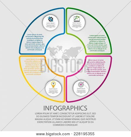 Modern Vector Illustration 3D. Template Of Circular Infographics With Four Elements, Sectors And Per