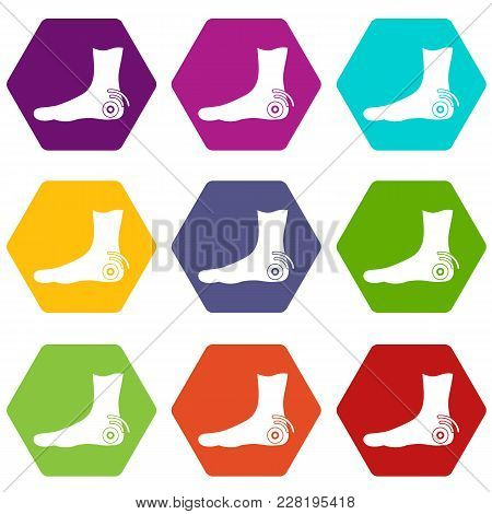 Foot Heel Icon Set Many Color Hexahedron Isolated On White Vector Illustration