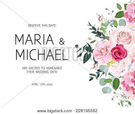 Delicate Side Wedding Vector Design Frame. Rose, White Peony, Camellia, Hydrangea, Pink Flowers, Sil
