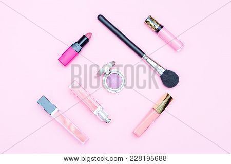 Beauty Makeup On Pink Background. Minimalist Design