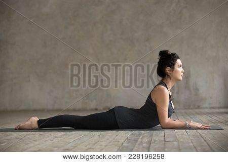 Young Woman Practicing Yoga, Doing Ardha Bhudjangasana, Sphinx Exercise, Baby Cobra Pose, Working Ou
