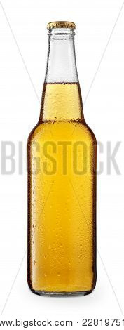 Cold Beer Or Cider In Glass Bottle With Drops, Isolated On White Background. Clipping Path. Beer Wit
