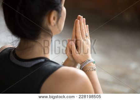 Namaste Gesture Close Up Photo, Young Attractive Woman Practicing Yoga, Working Out, Wearing Wrist B