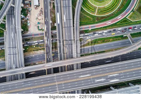 Aerial View Overpass Traffic With Car Move