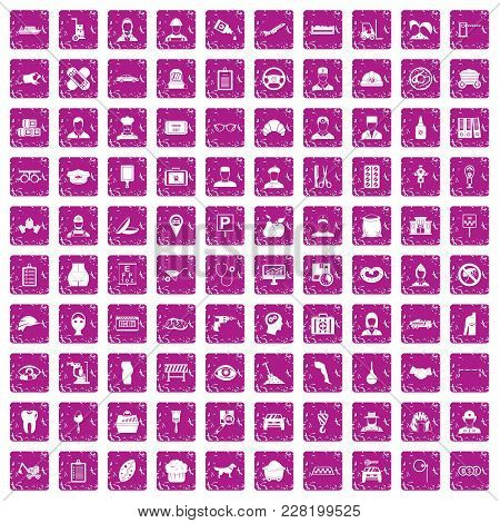 100 Favorite Work Icons Set In Grunge Style Pink Color Isolated On White Background Vector Illustrat