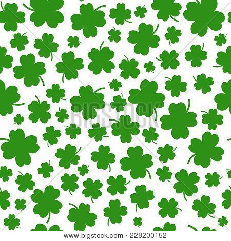 St. Patrick's Day Seamless Pattern Background With Shamrock Leaves On White