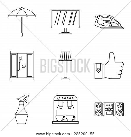 Holiday House Icons Set. Outline Set Of 9 Holiday House Vector Icons For Web Isolated On White Backg