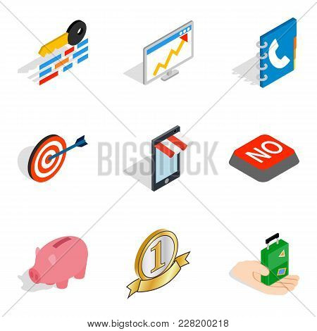 Excellent Start Up Icons Set. Isometric Set Of 9 Excellent Start Up Vector Icons For Web Isolated On