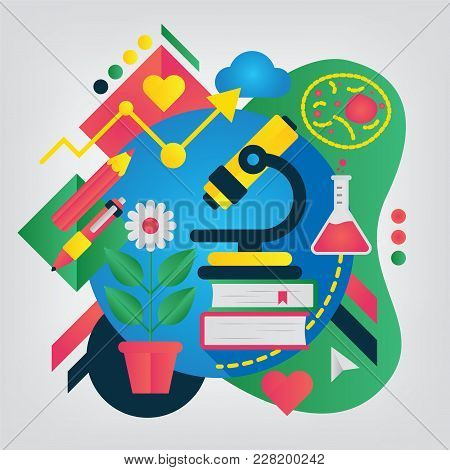Biology. Set Of Illustration For School Notebook Or Schedule Of Lessons. Back To School Concept.
