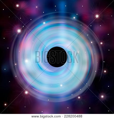Abstrsct Space - A Black Hole. Cosmos Black Hole In Space. Stars And Material Falls Into A Black Hol