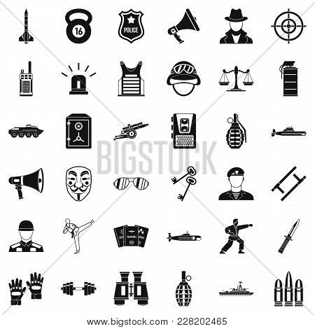 Police Officer Icons Set. Simple Set Of 36 Police Officer Vector Icons For Web Isolated On White Bac