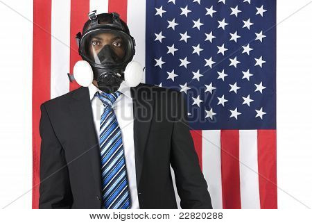 Businessman With Mask Over A Us Flag