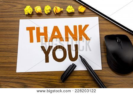 Conceptual Hand Writing Text Showing Thank You. Business Concept For Gratitude Thanks Written On Sti