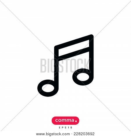 Music Note Icon Isolated On White Background. Music Note Icon Modern Symbol For Graphic And Web Desi