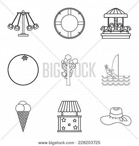 Warm Day Icons Set. Outline Set Of 9 Warm Day Vector Icons For Web Isolated On White Background