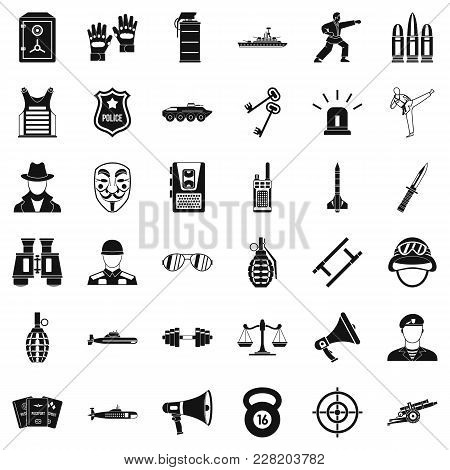 Cop Icons Set. Simple Set Of 36 Cop Vector Icons For Web Isolated On White Background