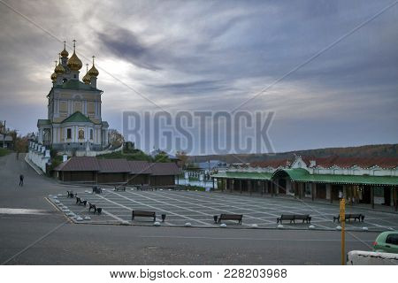 Ples, Russia - 11 September 2017 Resurrection Church At Sunset Is A Town In Privolzhsky District Of