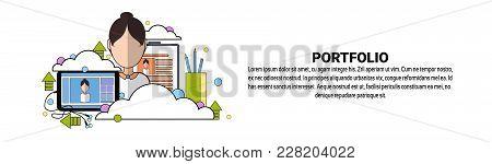Designer Portfolio Of Works Concept Horizontal Banner With Copy Space Flat Vector Illustration