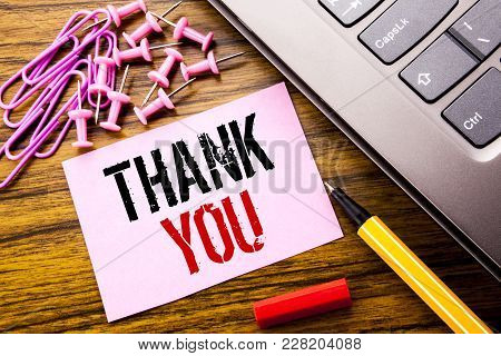 Handwritten Text Showing Thank You. Business Concept For Gratitude Thanks Written On Pink Sticky Not