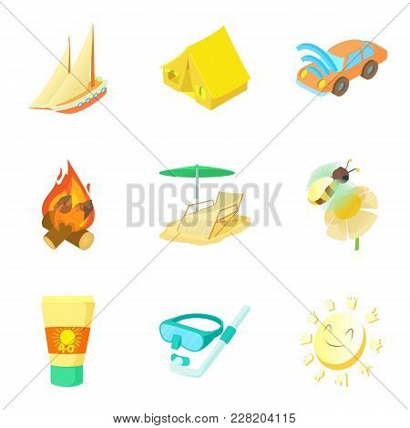 Warm Summer Icons Set. Cartoon Set Of 9 Warm Summer Vector Icons For Web Isolated On White Backgroun