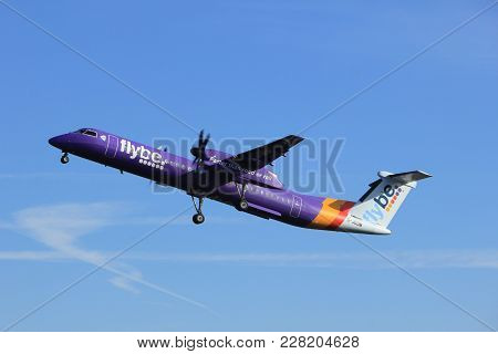 Amsterdam The Netherlands - February 24th 2018: G-jedm Flybe De Havilland Canada Dhc-8-400 Takeoff F