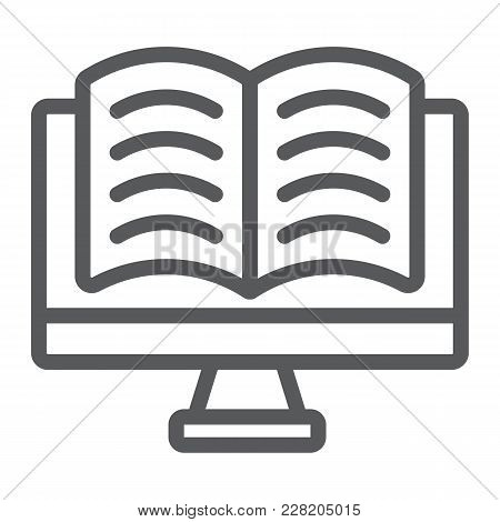 Online Reading Line Icon, E Learning And Education, Book In Monitor Sign Vector Graphics, A Linear P