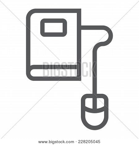 Mouse And Book Line Icon, E Learning And Education, Knowledge Sign Vector Graphics, A Linear Pattern