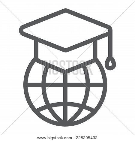 Global Education Line Icon, E Learning And Education, Graduation Cap On Globe Sign Vector Graphics,