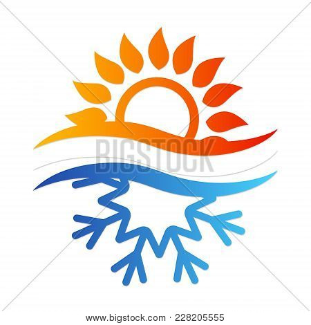 Snowflake And Sun Symbol For Air Conditioning