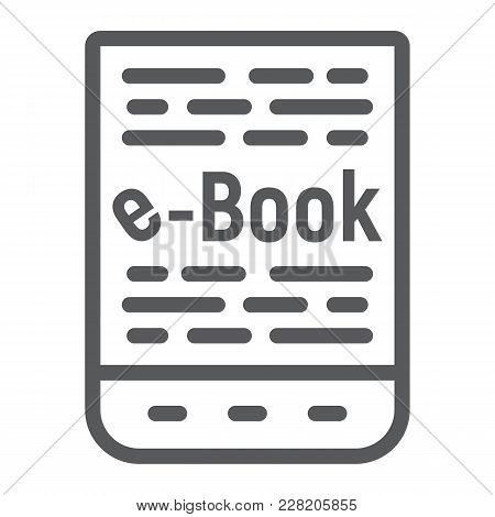 E Book Line Icon, E Learning And Education, Tablet Sign Vector Graphics, A Linear Pattern On A White